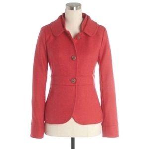 J Crew Wool Jacket Size 6 Button Down Pink